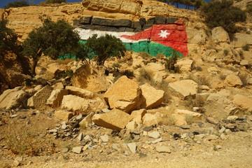 Jordanian flag paint graffiti