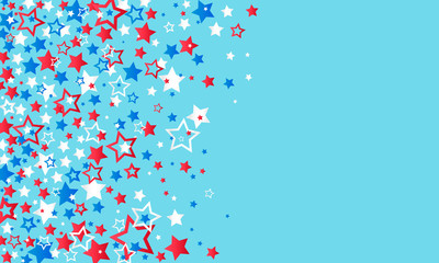July 4, USA Independence Day. Red, blue and white stars decorations confetti on a blue background. Texture of falling colored stars.