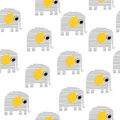 Modèle sans couture avec éléphant rayé. Impression monochrome mignonne pour enfants. Illustration vectorielle dessinés à la main.