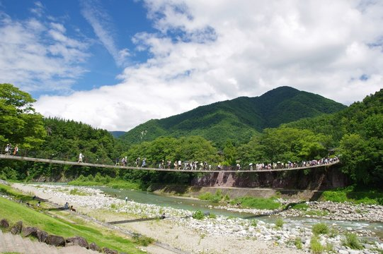 suspension bridge over Shogawa river, Shirakawago, Japan 夏の庄川であい橋 白川郷