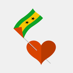 Heart icon with sao tome and principe flag