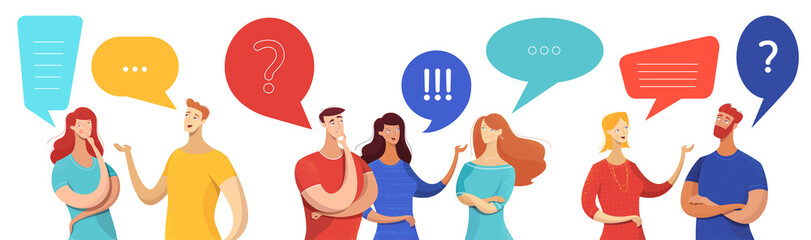 People with speech bubbles vector characters set