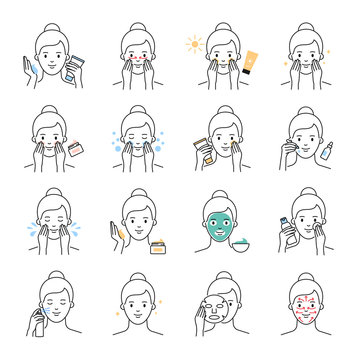 Daily skin care, beauty treatment vector icons set