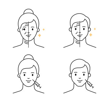 Anti-ageing treatments for women and men, botox and fillers outline vector icons