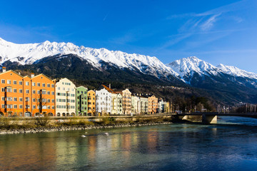 Innsbruck in the Alps colorful houses with inn