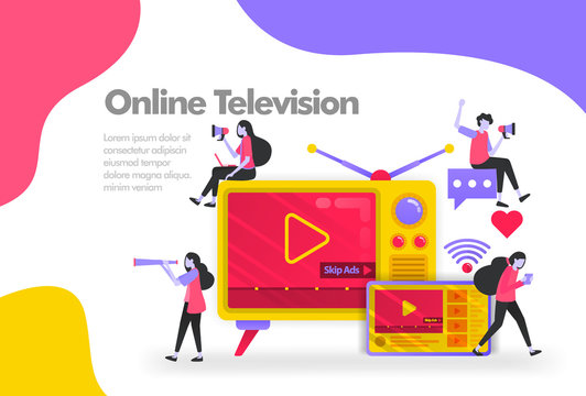 Subscribe online streaming television video Illustration Concept. Modern flat design concept for Landing page website, mobile apps ui, banner poster, flyer brochure, web print document. Vector EPS 10