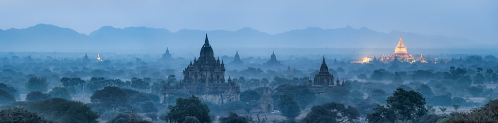 Bagan panorama at night with golden Shwezigon pagoda, Myanmar Wall mural