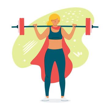 Female weightlifter flat vector illustration