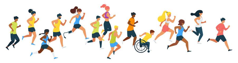 Marathon runners flat vector illustration