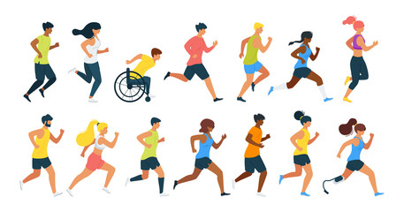 Running people flat vector illustration