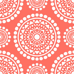 Ornamental Mandala Decoration Pattern. Endless Vector Background. Coral Color.