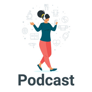 Young girl listening to podcast flat vector illustration