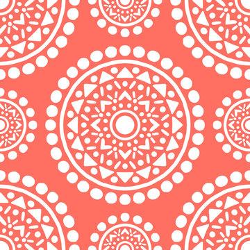 Ornamental Mandala Decoration Pattern. Endless Vector Background. Coral Color.