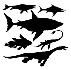 sea dinosaurs vector
