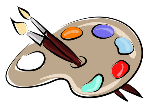 Color pallette with brushes, illustration, vector on white background