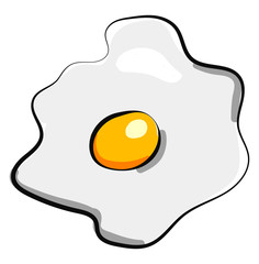 One scramble egg, illustration, vector on white background