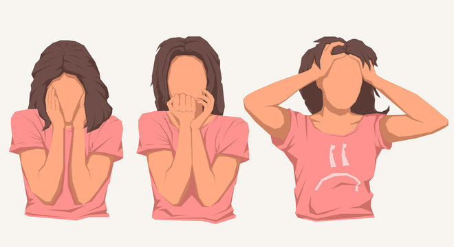 Cute brunette woman in different nervous or anxious pose