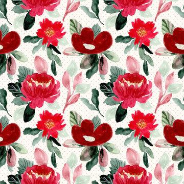 beautiful red flower watercolor seamless pattern