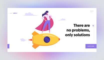Female Superhero in Red Cloak, Super Employee Girl with Arms Akimbo Flying on Gold Rocket, Business Success, Leadership Concept Website Landing Page, Web Page. Cartoon Flat Vector Illustration, Banner