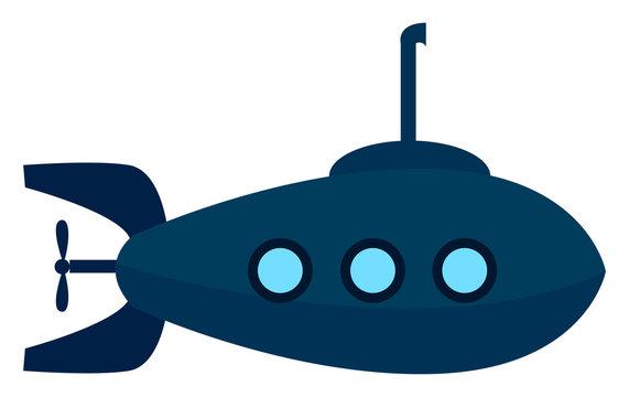 Blue submarine, illustration, vector on white background.