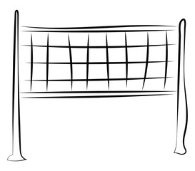 Volleyball net drawing, illustration, vector on white background.