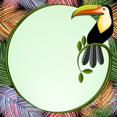 Palm Leaves Frame With Toucan Bird Vector Background illustration