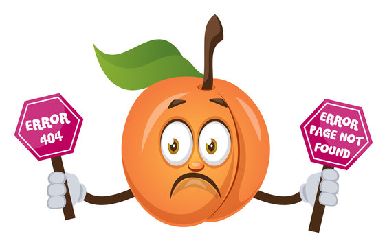 Apricot holding 404 error sign, illustration, vector on white background.
