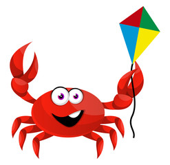 Crab with flying kite, illustration, vector on white background.