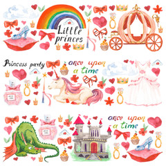 Watercolor pattern with beautiful princess, castle, carriage, dragon, crown and accessories for little children and girls. Birthday princess party