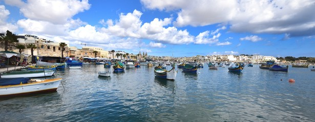 Printed roller blinds City on the water Fishing boats in the harbour of Marsaxlokk