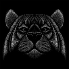 The Vector logo tiger for tattoo or T-shirt design or outwear.  Hunting style tigers print on black background.