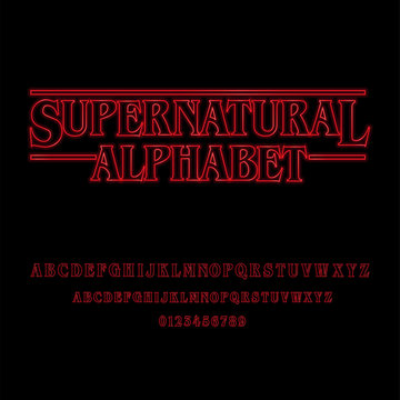 Supernatural Alphabet With Red Glowing Letters
