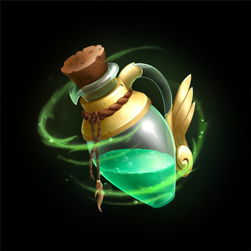 Fantasy game asset icon of a potion or poison magic bottle with green liquid