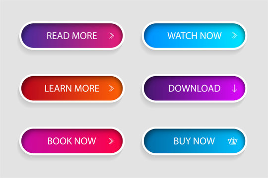 Set of trendy action button for web, mobile app.Template navigation button menu.Gradient icon for shop, game, banner.vector