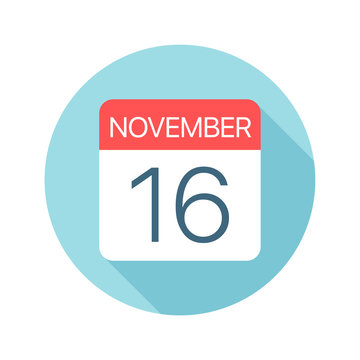 November 16 - Calendar Icon. Vector illustration of one day of month