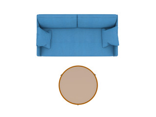 Blue sofa with table top view path selection