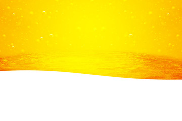 Oil background. Liquid flows yellow, for the project, oil, honey, beer or other variants on white background, area for text