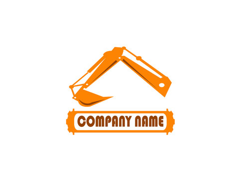 excavator arm digger for logo design illustration in white background