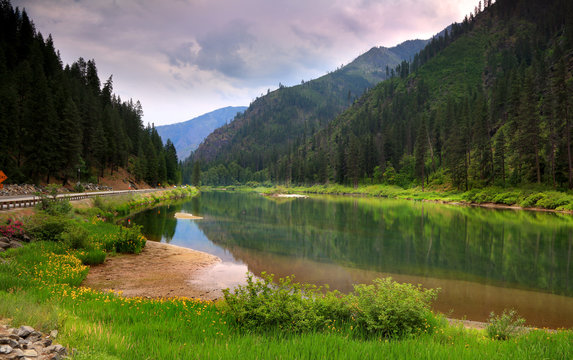 Scenic Wenatchee river landscape in North Cascades national forest