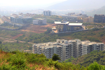 Canvas Prints Palm tree Suburbs of Visakhapatnam city booming IT hub which is largest city in newly bifurcated Andhra Pradesh state in India, On December 9,2015 Visakhapatnam, India