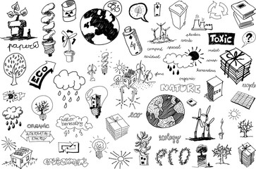 many hand drawn sketches of topics regarding nature nd environment and ecology and recycling and pollution