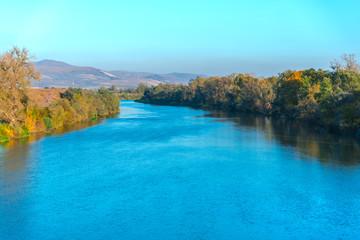 Printed kitchen splashbacks Light blue Landscape on the river