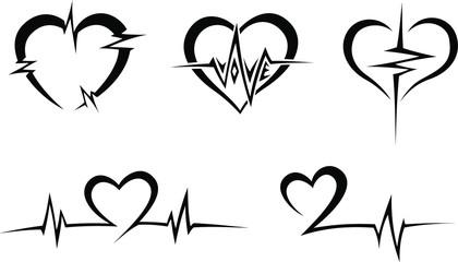 Heart Pulse Tribal Tattoo Set