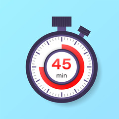 The 45 minutes timer. Stopwatch icon in flat style.