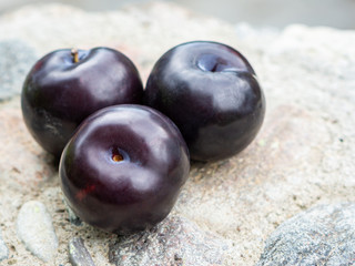 Three dark purple plum fruits