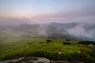 Early morning cloudy Carpathian Mountain