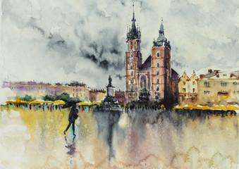 Stare Miasto, Kraków, Polska z kościołem Miariackim w tle. Obraz stworzony akwarelami. - 278263105