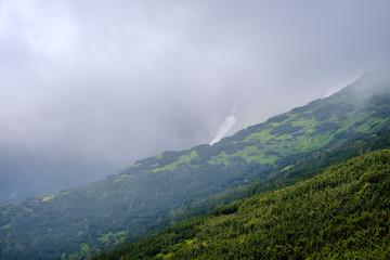Summer misty morning cloudy Carpathian Mountains (Chornohora range, Ukraine).