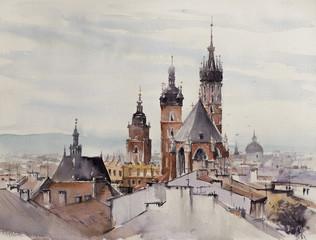Stare Miasto, Kraków, Polska z kościołem Miariackim w tle. Obraz stworzony akwarelami. - 278263939