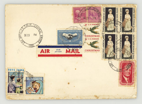 Briefmarken Amerika US stamps america Briefumschlag envelope vintage retro old gestempelt Weihnachten Christmas John Copley William McKinley William Howard Taft Herbert Hoover UN